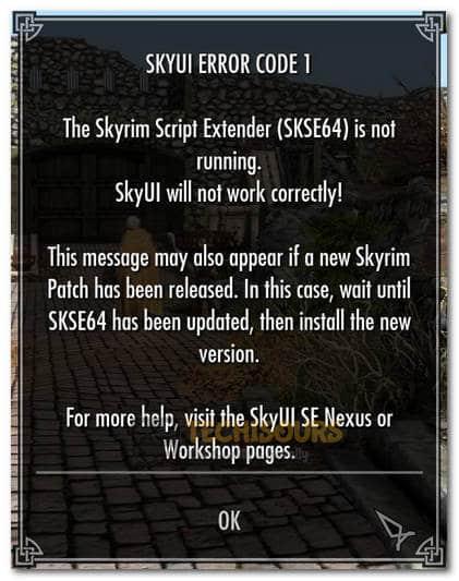 SkyUI Error Code 1
