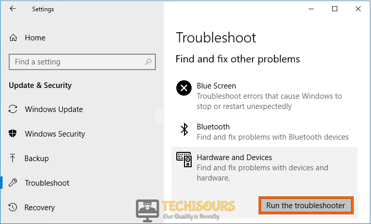 Run the troubleshooter to fix printer needs user intervention issue
