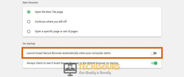 Modifying the browser's settings