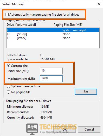 Modifying settings