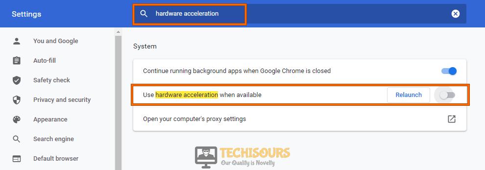 Disable hardware acceleration to fix video scheduler internal error