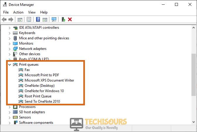 Choose Print Queues to resolve printer needs user intervention problem
