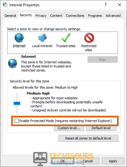 Disable protected mode in Internet Explorer
