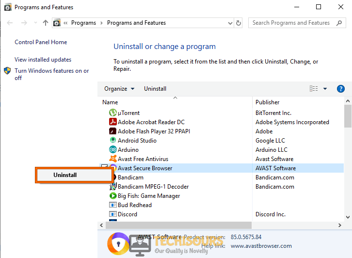 Uninstall browser to resolve stop avast browser opening on startup issue