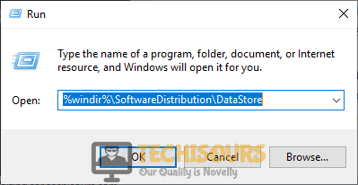 "Typing in ""%windir%\SoftwareDistribution\DataStore"""