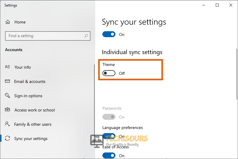 Disable the Theme Sync to rectify windows can't find one of the files in this theme error