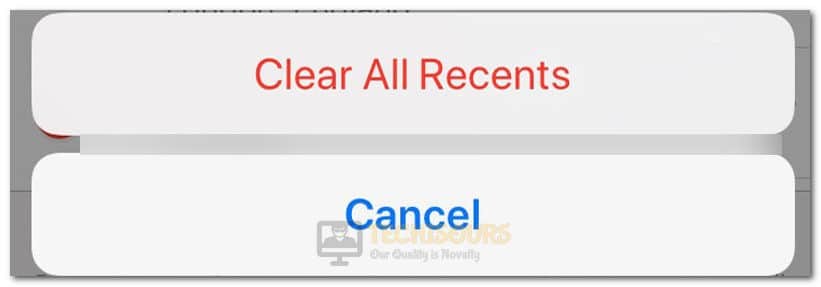 Clear All Recents iPhone to fix Last Line no Longer Available Error