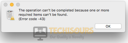 The operation can't be completed because one or more required items can't be found. (Error code -43)
