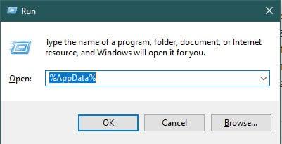 Opening AppData Folder