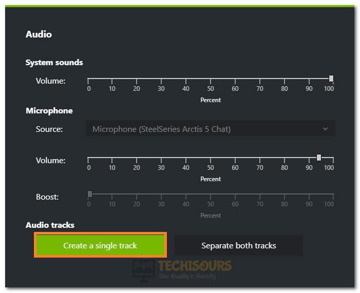 Selecting Create Single Track Option
