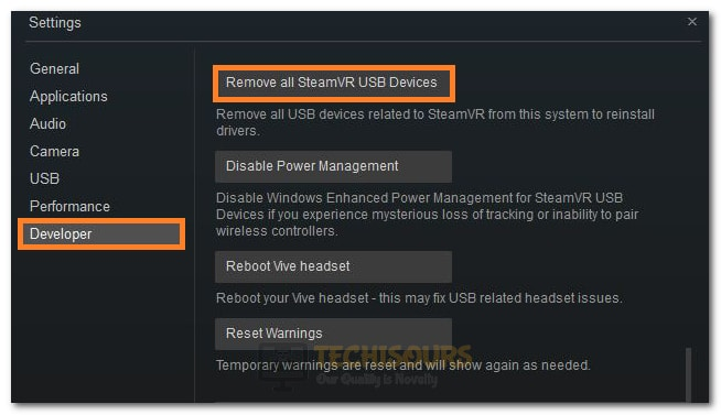 Selecting the Remove all SteamVR USB Devices