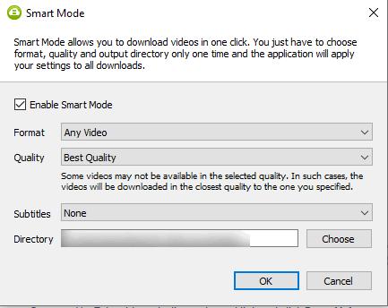 Smart mode feature of 4k video downloader