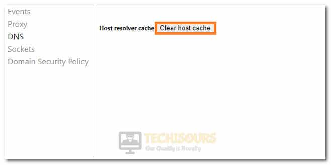 Clicking on the Clear Host Cache option