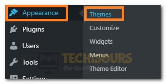"Selecting the ""Theme"" option"