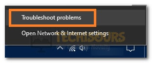 "Clicking on the ""Troubleshoot Problems"" option"
