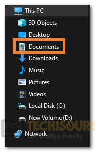 """Clicking on the """"Documents"""" option"""