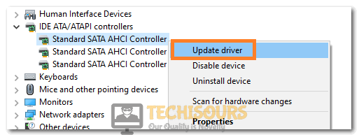 Clicking on Update Driver