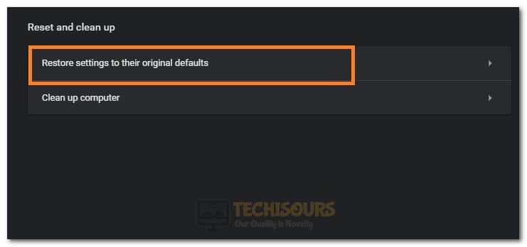 Reset Settings to their Original Defaults