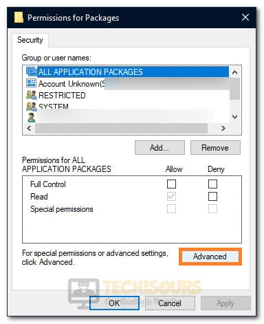 "Clicking on the ""Advanced"" button inside Security Permissions Setting"