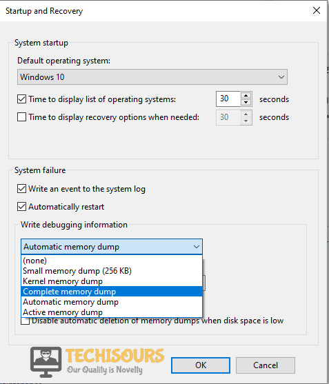 Choose Complete Memory Dump Option