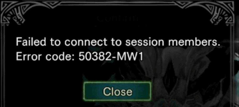 Monster Hunter World error code 50382-mw1