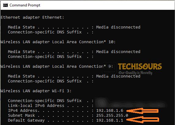 Note down Default Gateway