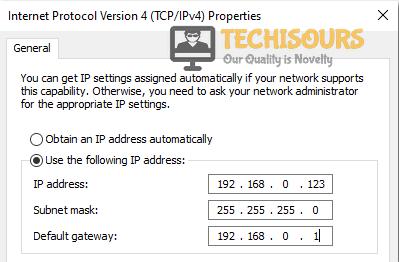 Enter IP Address manually