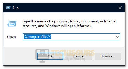 Typing in %ProgramFiles% into the Run prompt