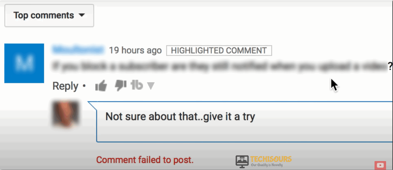 youtube comment failed to post issue