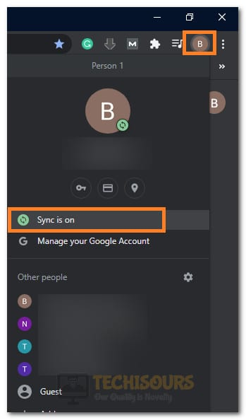 "Selecting the ""Sync is On"" option"