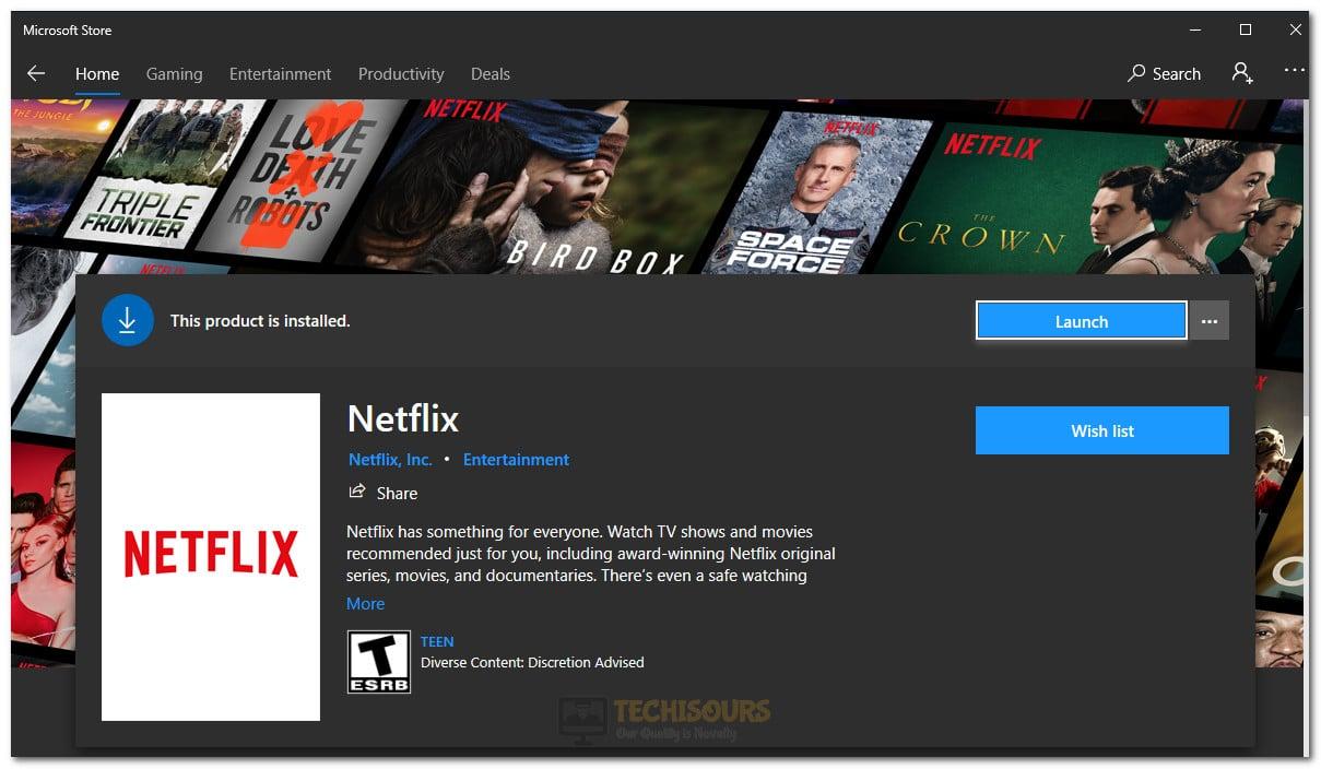 Installing Netflix via Microsoft Store