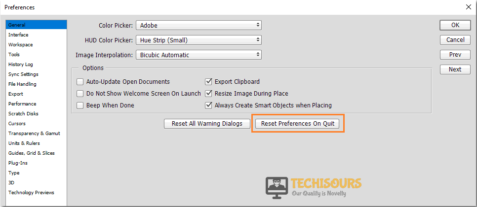 Resetting Preferences