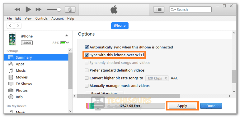 Clicking on the Sync with This iPhone Over Wi-Fi option