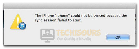 iPhone could not be synced because the sync session failed to start