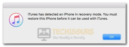 iTunes has detected an iPhone in recovery mode. You must restore this iPhone before it can be used with iTunes