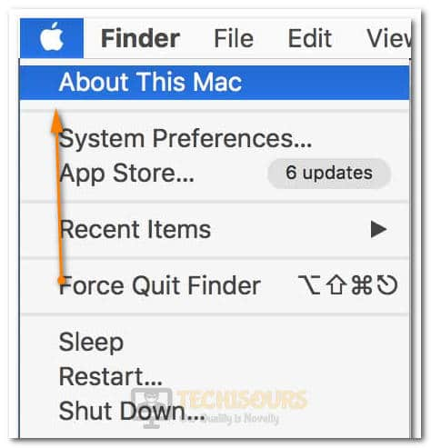 "Selecting the ""About this Mac"" option"