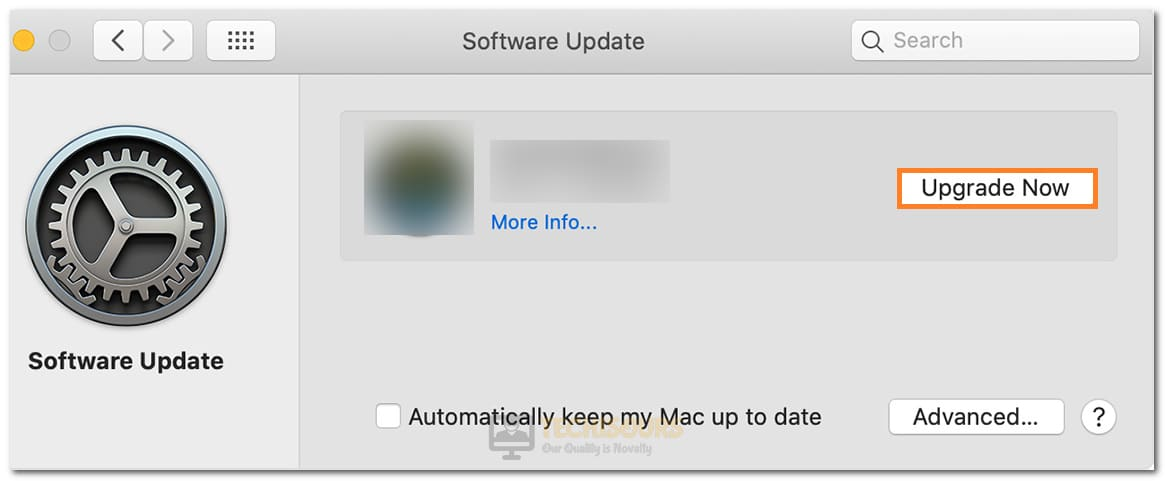 Selecting Upgrade Now in macOS