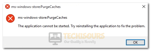 ms-windows-store:PurgeCaches the app didn't start