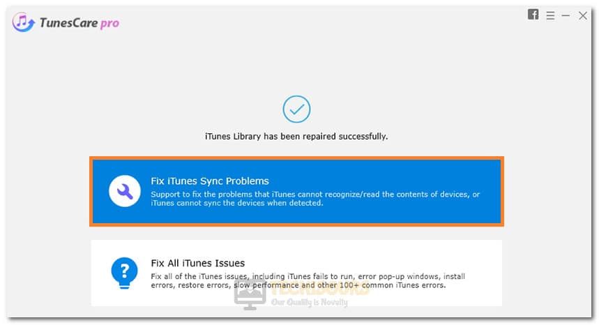 Clicking on the Fix iTunes Sync Problems option