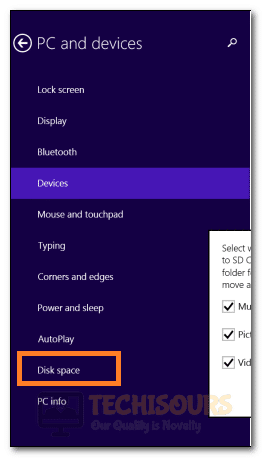 Clicking on the Disk Space tab in Windows 8