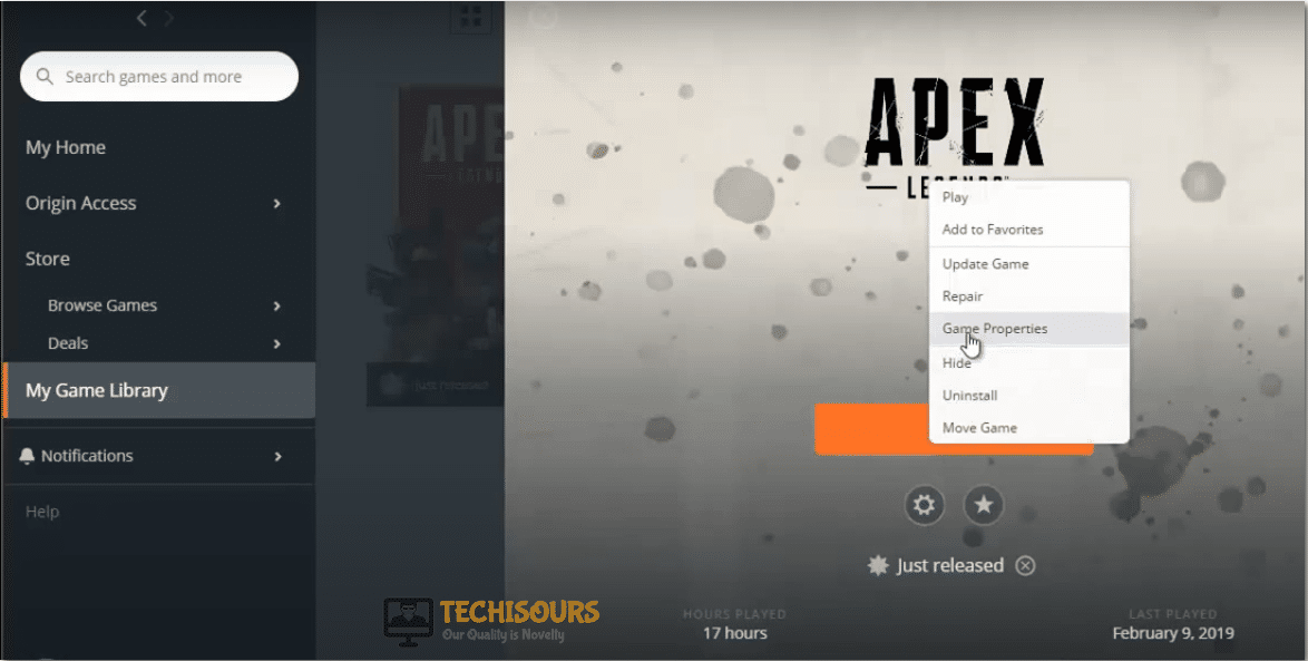 Choose game properties to fix apex legends party leader quit issue