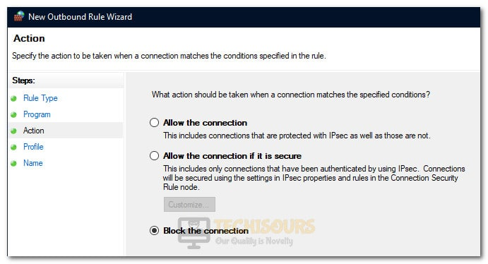 """Clicking on the """"Block the Connection"""" option"""