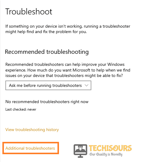 Choose additional troubleshooters
