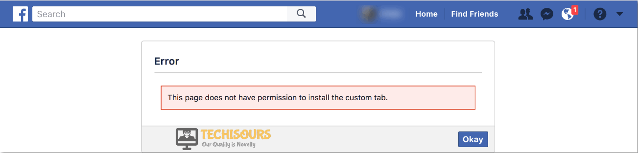 this page does not have permission to install the custom tab