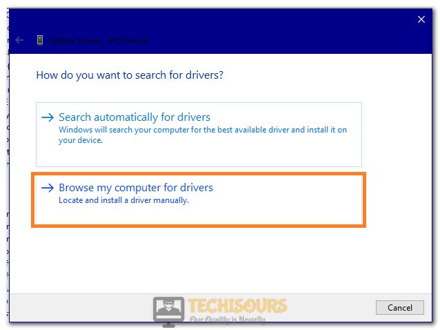 Clicking on the Browse My Computer for Drivers option