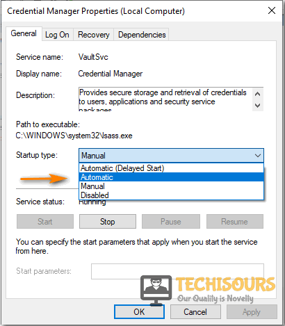 Choose Automatic option to fix the service cannot accept control messages at this time