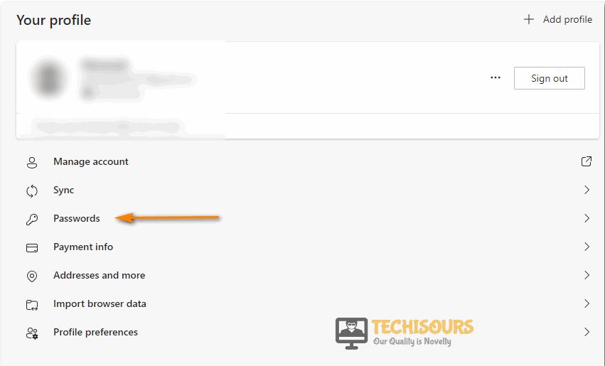 Click on passwords