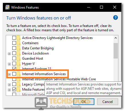 Uncheck the Internet Information Services option to fix the Windows could not Configure one or more System Components error
