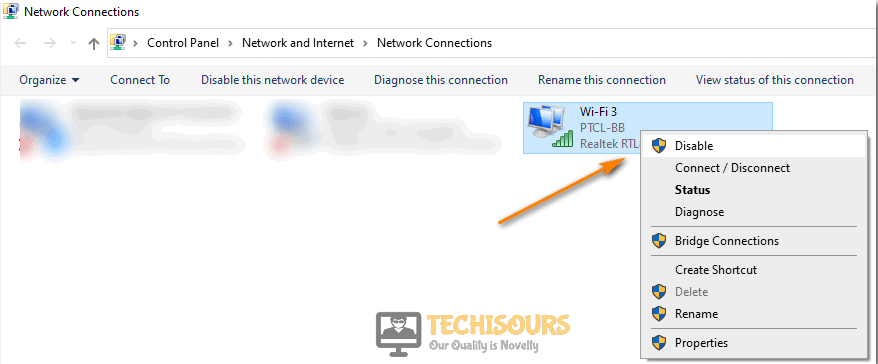 Disable internet connections