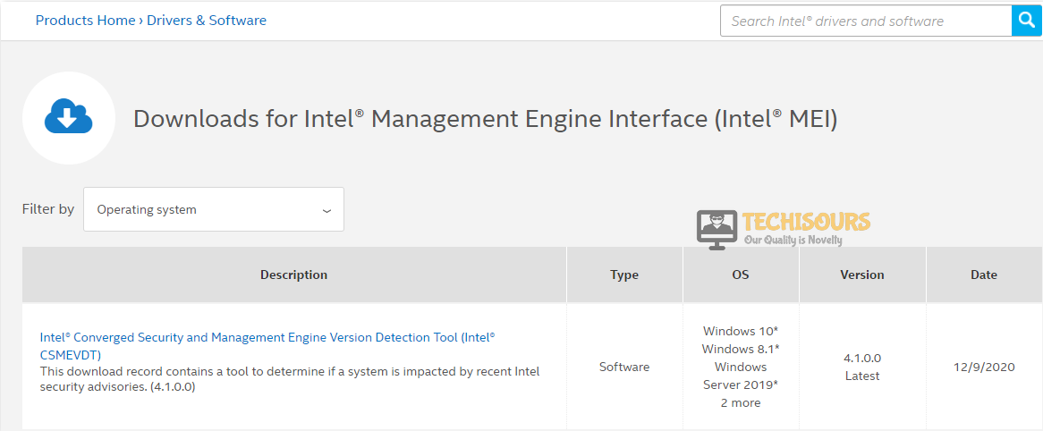 Check intel management
